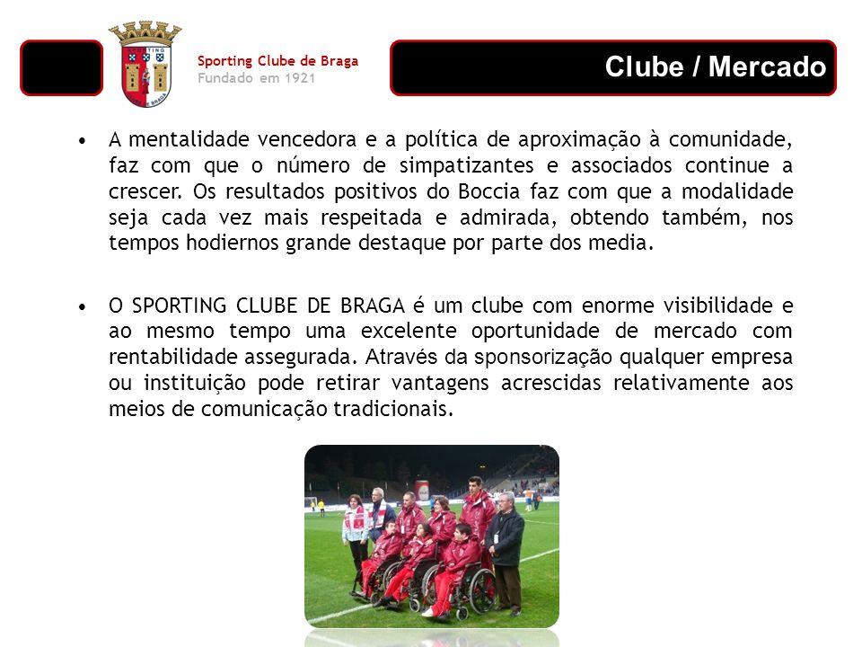 Clube / Mercado Sporting Clube de Braga Fundado em 1921 As marcas associadas ao SPORTING CLUBE DE BRAGA têm um aumento de visibilidade bastante acentuada, através das publicações em jornais e revistas, da televisão e das campanhas promocionais feitas pelo clube.