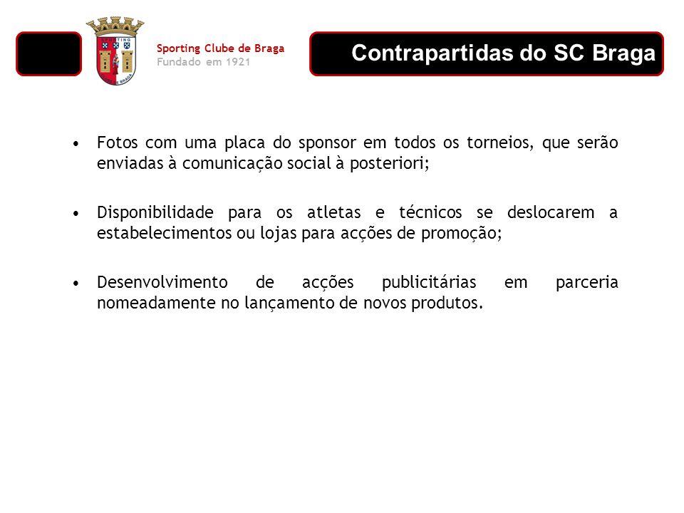 Contrapartidas do SC Braga Sporting Clube de Braga Fundado em 1921 Fotos com uma placa do sponsor em todos os torneios, que serão enviadas à comunicaç