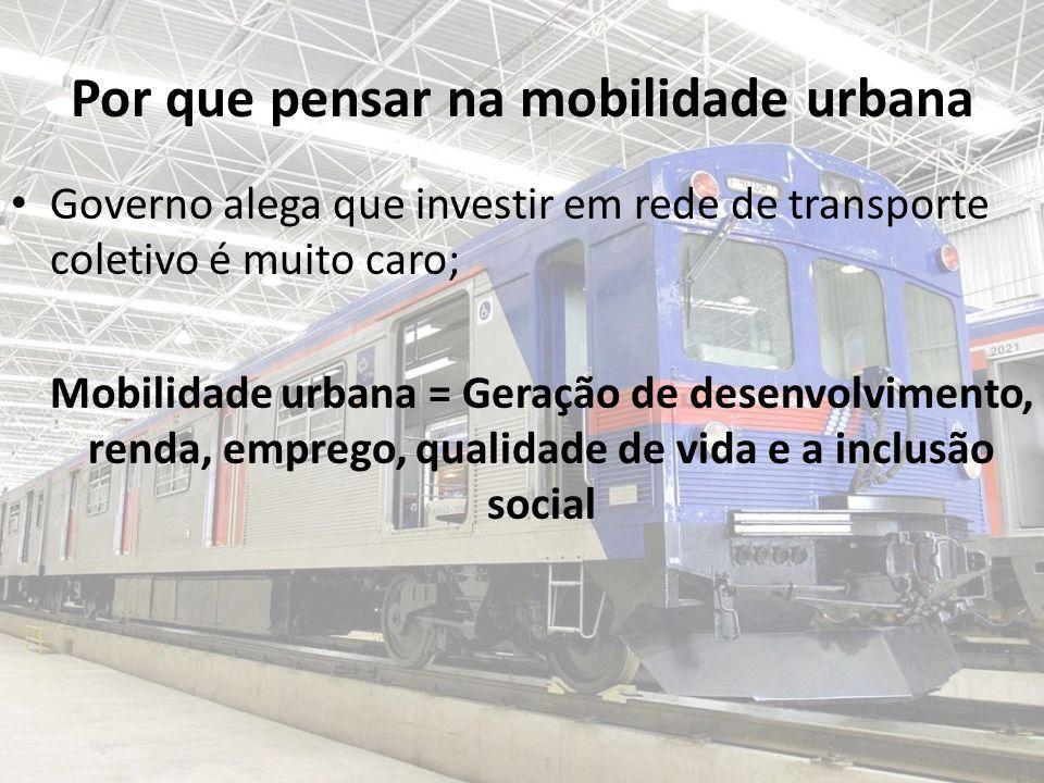 Por que pensar na mobilidade urbana Governo alega que investir em rede de transporte coletivo é muito caro; Mobilidade urbana = Geração de desenvolvimento, renda, emprego, qualidade de vida e a inclusão social