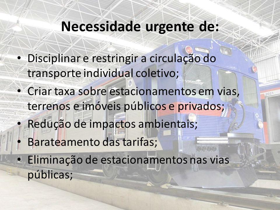 Necessidade urgente de: Disciplinar e restringir a circulação do transporte individual coletivo; Criar taxa sobre estacionamentos em vias, terrenos e imóveis públicos e privados; Redução de impactos ambientais; Barateamento das tarifas; Eliminação de estacionamentos nas vias públicas;