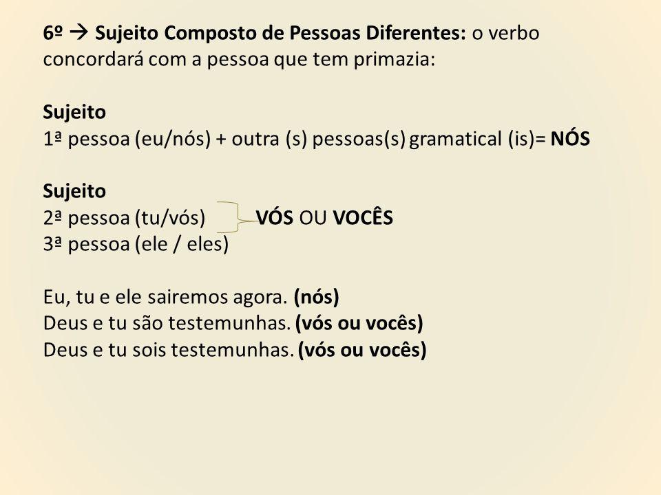 6º  Sujeito Composto de Pessoas Diferentes: o verbo concordará com a pessoa que tem primazia: Sujeito 1ª pessoa (eu/nós) + outra (s) pessoas(s) grama