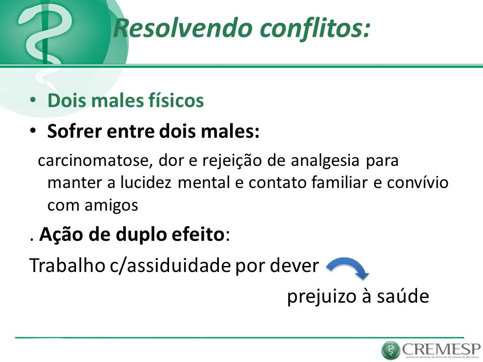 Resolvendo conflitos: Dois males físicos Sofrer entre dois males: carcinomatose, dor e rejeição de analgesia para manter a lucidez mental e contato fa