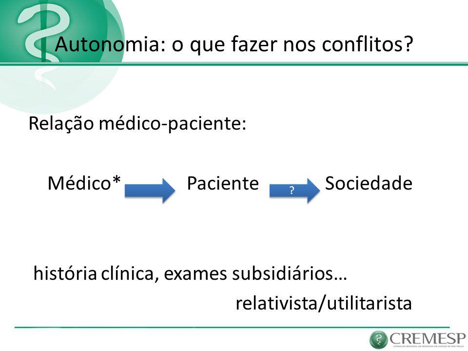 Autonomia: o que fazer nos conflitos? Relação médico-paciente: Médico* Paciente Sociedade história clínica, exames subsidiários… relativista/utilitari
