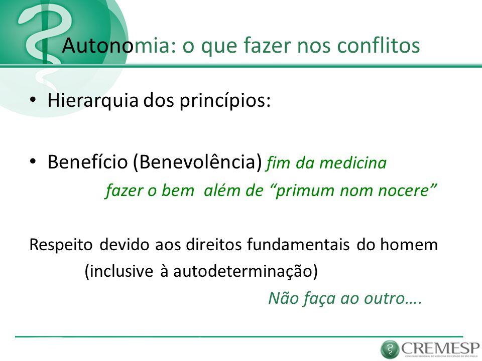 Autonomia: o que fazer nos conflitos Hierarquia dos princípios: Benefício (Benevolência) fim da medicina além de primum nom nocere Autonomia Justiça