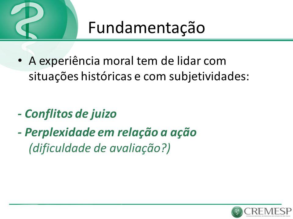 Fundamentação A experiência moral tem de lidar com situações históricas e com subjetividades: - Conflitos de juizo - Perplexidade em relação a ação (d
