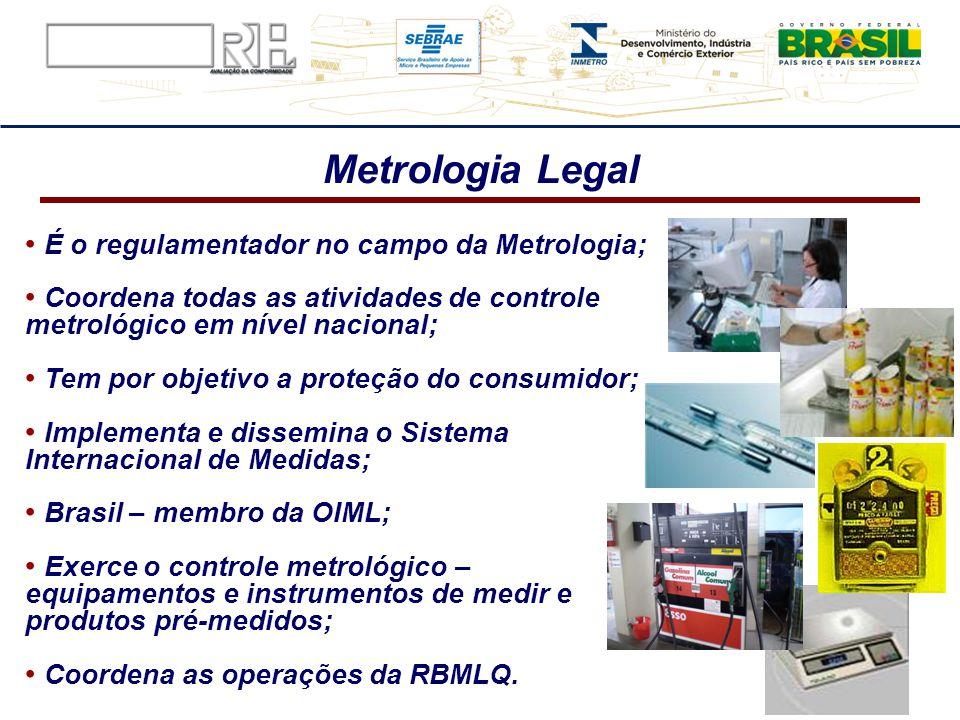 Metrologia Legal É o regulamentador no campo da Metrologia; Coordena todas as atividades de controle metrológico em nível nacional; Tem por objetivo a