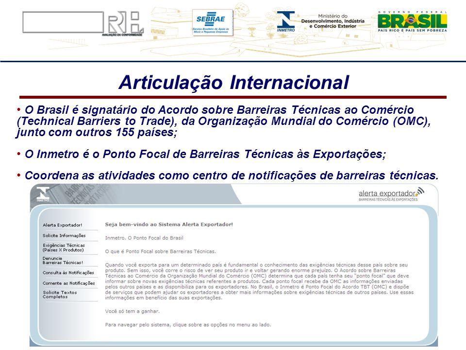Articulação Internacional O Brasil é signatário do Acordo sobre Barreiras Técnicas ao Comércio (Technical Barriers to Trade), da Organização Mundial d