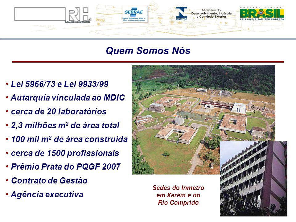 Lei 5966/73 e Lei 9933/99 Autarquia vinculada ao MDIC cerca de 20 laboratórios 2,3 milhões m 2 de área total 100 mil m 2 de área construída cerca de 1