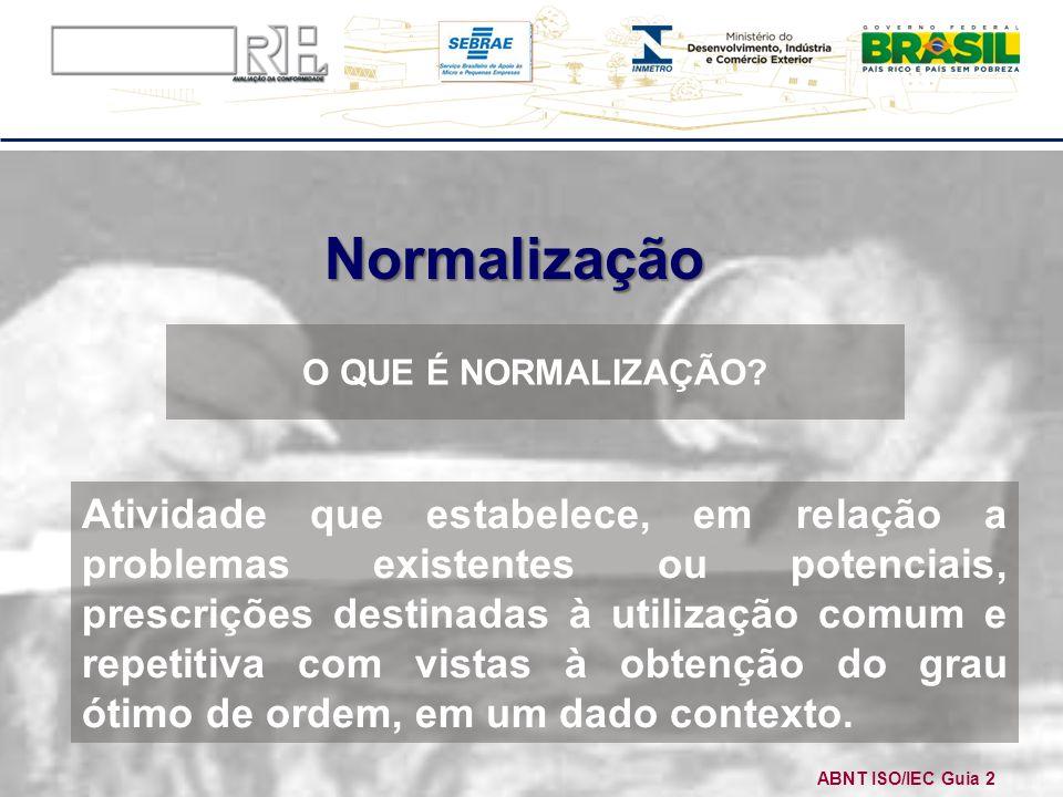Normalização Atividade que estabelece, em relação a problemas existentes ou potenciais, prescrições destinadas à utilização comum e repetitiva com vis