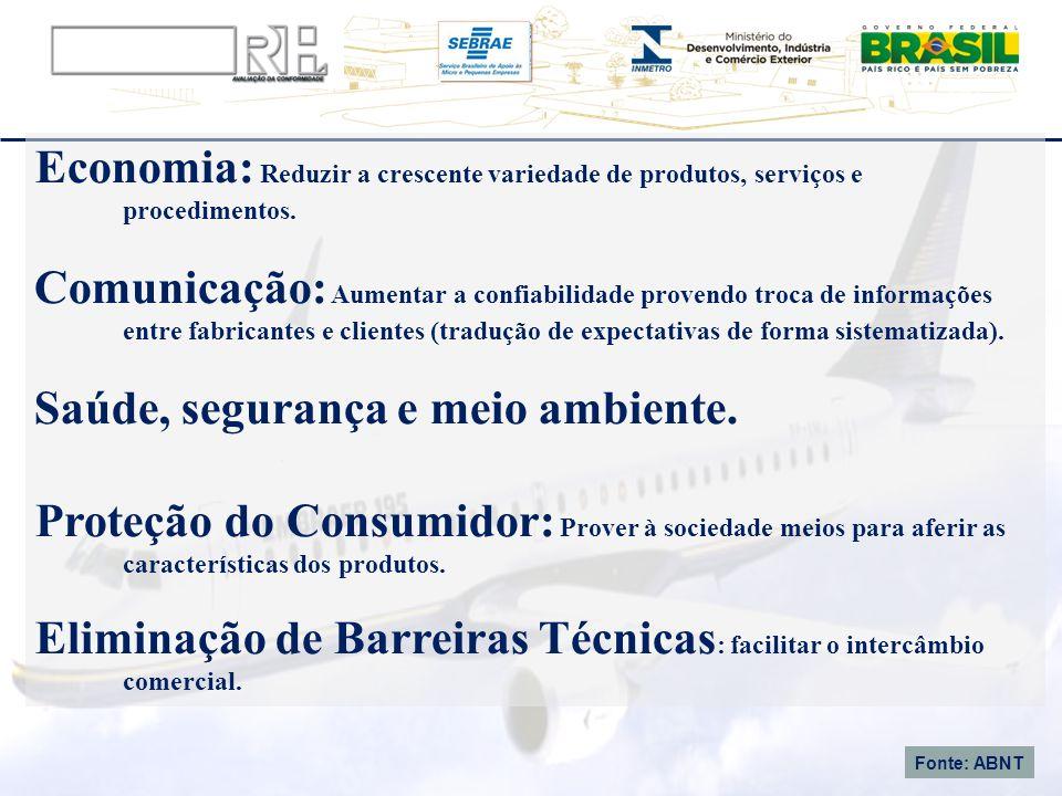 Economia: Reduzir a crescente variedade de produtos, serviços e procedimentos. Comunicação: Aumentar a confiabilidade provendo troca de informações en