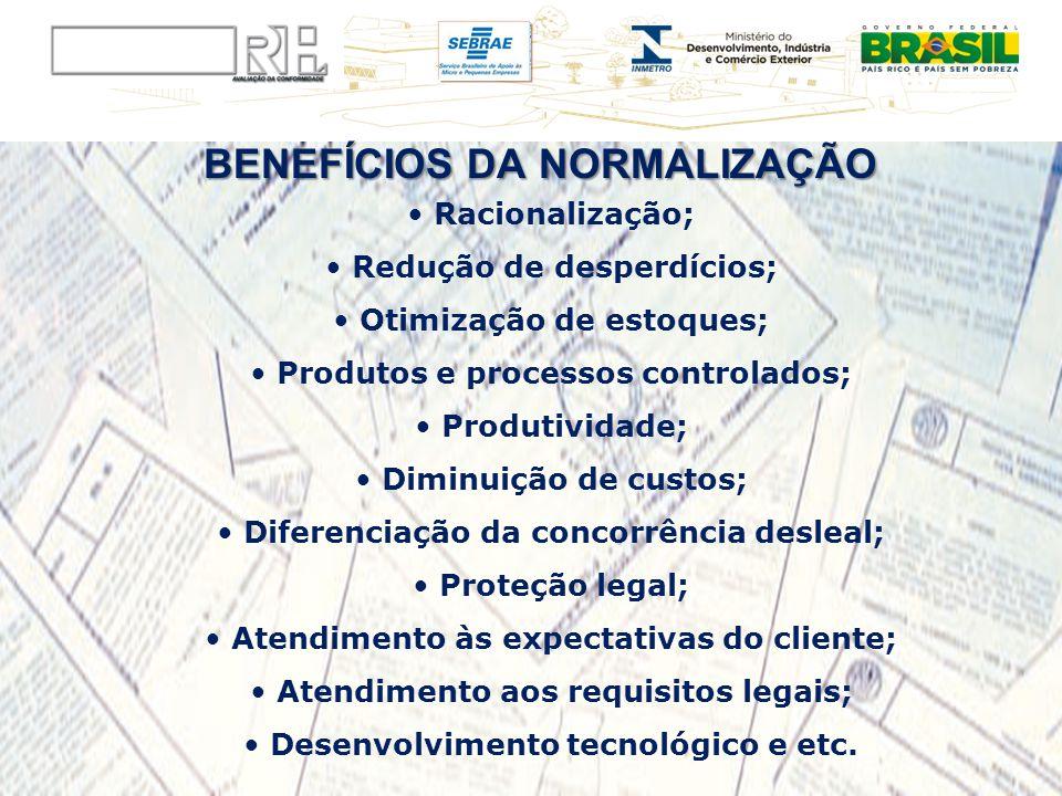 BENEFÍCIOS DA NORMALIZAÇÃO Racionalização; Redução de desperdícios; Otimização de estoques; Produtos e processos controlados; Produtividade; Diminuiçã