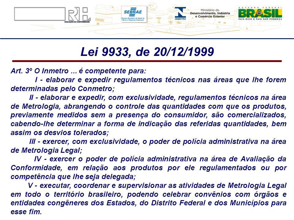 Art. 3º O Inmetro... é competente para: I - elaborar e expedir regulamentos técnicos nas áreas que lhe forem determinadas pelo Conmetro; II - elaborar