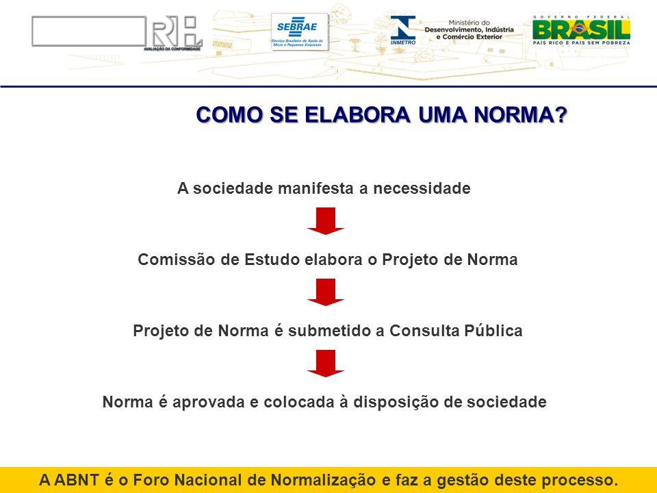 A ABNT é o Foro Nacional de Normalização e faz a gestão deste processo. A sociedade manifesta a necessidade Comissão de Estudo elabora o Projeto de No