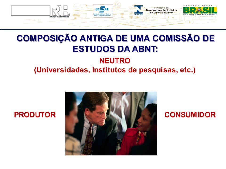 COMPOSIÇÃO ANTIGA DE UMA COMISSÃO DE ESTUDOS DA ABNT: NEUTRO (Universidades, Institutos de pesquisas, etc.) PRODUTOR CONSUMIDOR