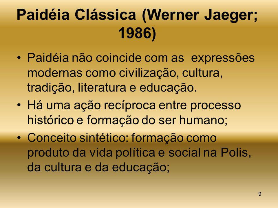 9 Paidéia Clássica (Werner Jaeger; 1986) Paidéia não coincide com as expressões modernas como civilização, cultura, tradição, literatura e educação. H