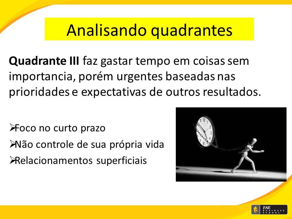 Analisando quadrantes Quadrante I: sufoca as pessoas, elas se tornam escravas e gerentes de crises, capazes de produzir somente no fim do prazo Result