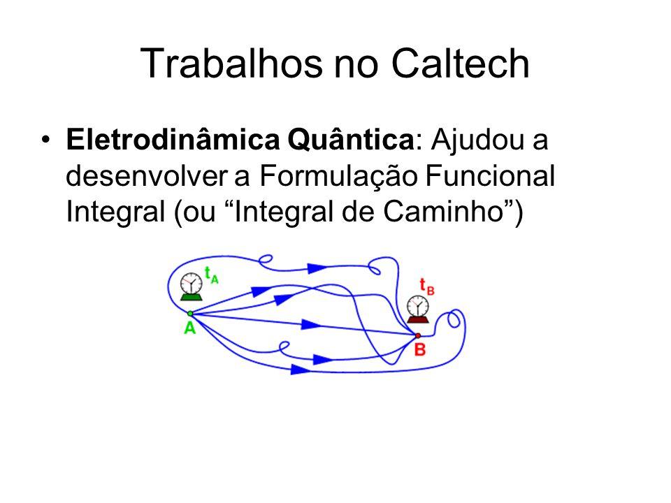 """Trabalhos no Caltech Eletrodinâmica Quântica: Ajudou a desenvolver a Formulação Funcional Integral (ou """"Integral de Caminho"""")"""