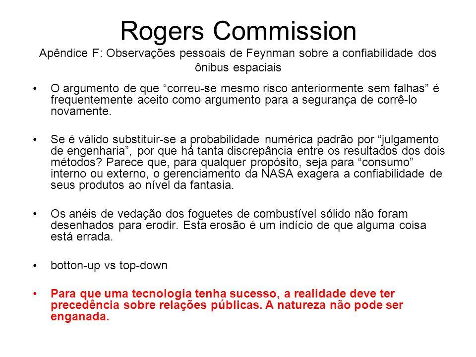 """Rogers Commission Apêndice F: Observações pessoais de Feynman sobre a confiabilidade dos ônibus espaciais O argumento de que """"correu-se mesmo risco an"""