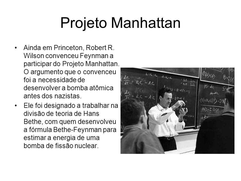 Projeto Manhattan Ainda em Princeton, Robert R. Wilson convenceu Feynman a participar do Projeto Manhattan. O argumento que o convenceu foi a necessid