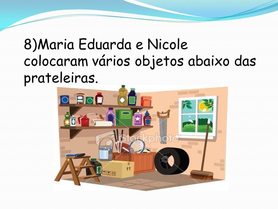 8)Maria Eduarda e Nicole colocaram vários objetos abaixo das prateleiras.