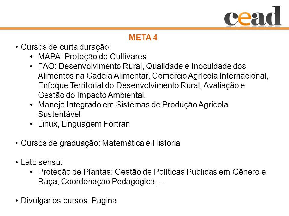 META 4 Cursos de curta duração: MAPA: Proteção de Cultivares FAO: Desenvolvimento Rural, Qualidade e Inocuidade dos Alimentos na Cadeia Alimentar, Comercio Agrícola Internacional, Enfoque Territorial do Desenvolvimento Rural, Avaliação e Gestão do Impacto Ambiental.
