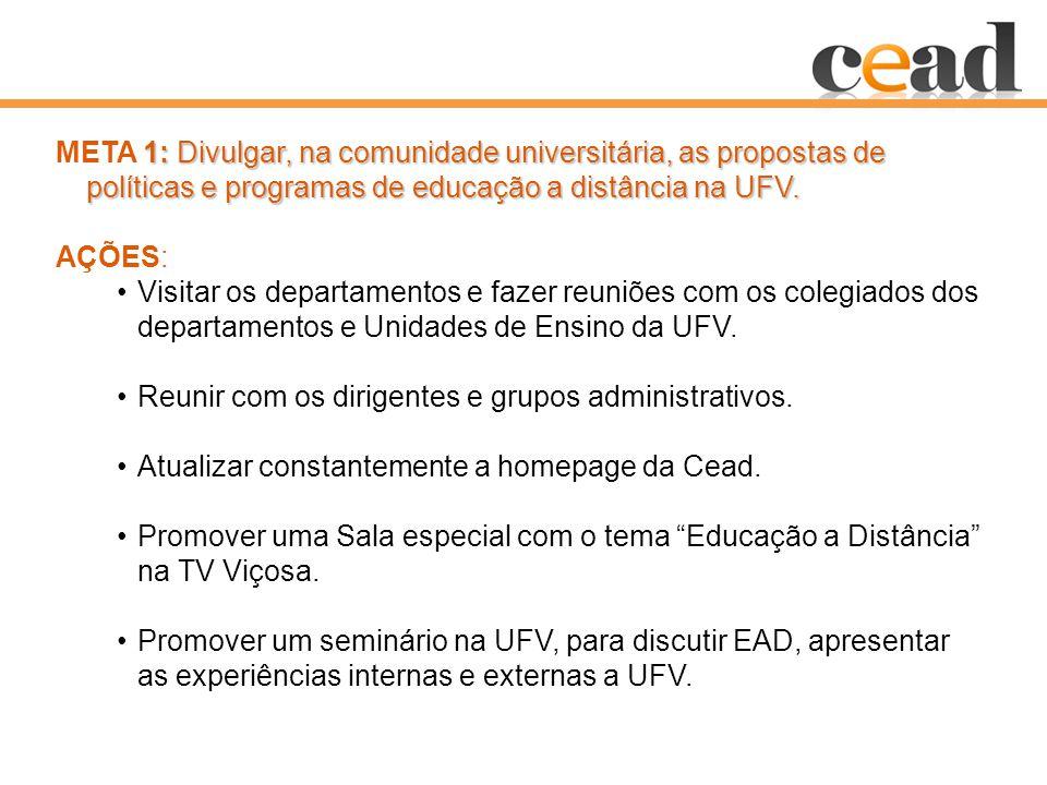 1: Divulgar, na comunidade universitária, as propostas de políticas e programas de educação a distância na UFV.