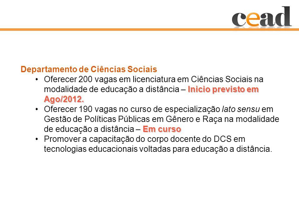 Departamento de Ciências Sociais Inicio previsto em Ago/2012.Oferecer 200 vagas em licenciatura em Ciências Sociais na modalidade de educação a distância – Inicio previsto em Ago/2012.