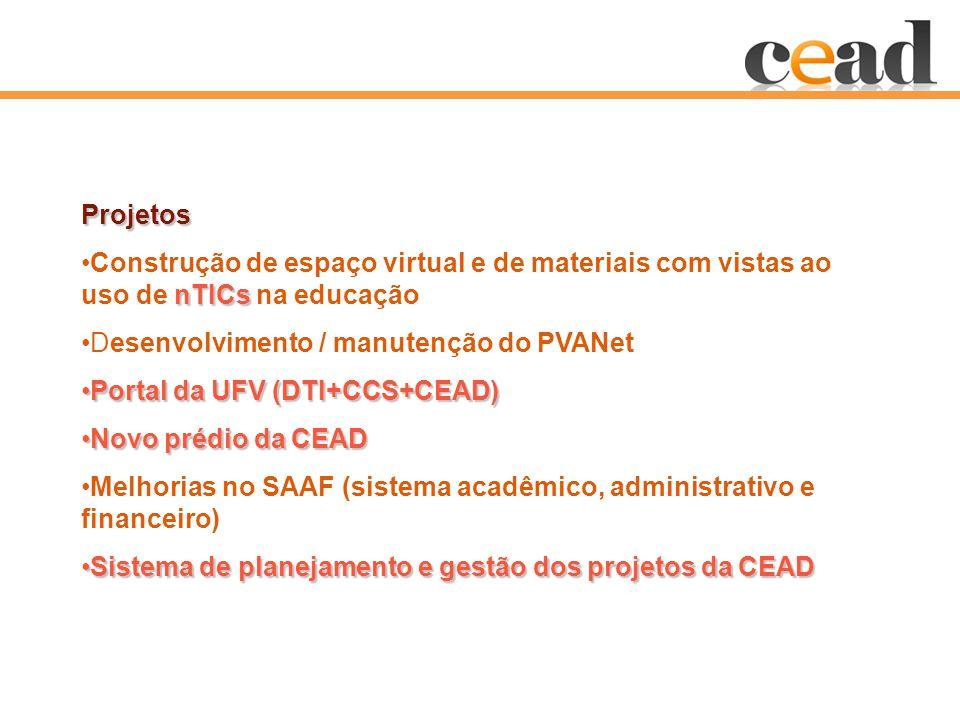 Projetos nTICsConstrução de espaço virtual e de materiais com vistas ao uso de nTICs na educação Desenvolvimento / manutenção do PVANet Portal da UFV (DTI+CCS+CEAD)Portal da UFV (DTI+CCS+CEAD) Novo prédio da CEADNovo prédio da CEAD Melhorias no SAAF (sistema acadêmico, administrativo e financeiro) Sistema de planejamento e gestão dos projetos da CEADSistema de planejamento e gestão dos projetos da CEAD