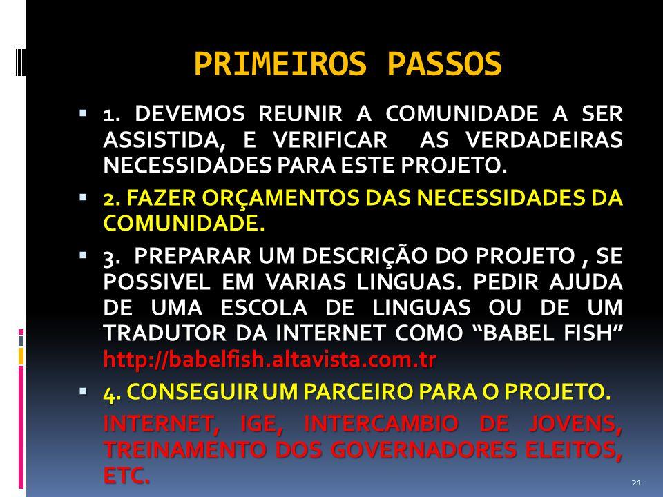 PRIMEIROS PASSOS  1. DEVEMOS REUNIR A COMUNIDADE A SER ASSISTIDA, E VERIFICAR AS VERDADEIRAS NECESSIDADES PARA ESTE PROJETO.  2. FAZER ORÇAMENTOS DA