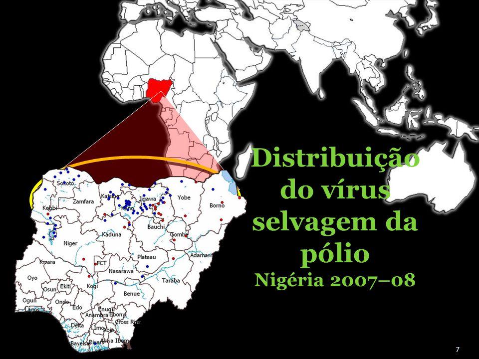 Distribuição do vírus selvagem da pólio Nigéria 2007–08 7