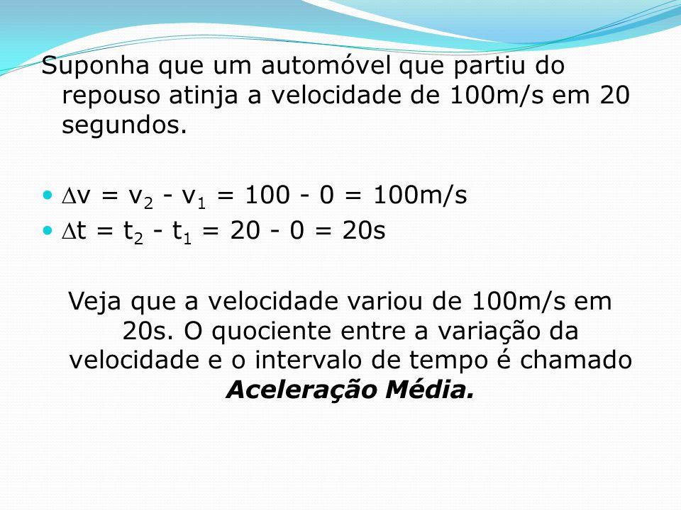Suponha que um automóvel que partiu do repouso atinja a velocidade de 100m/s em 20 segundos. v = v 2 - v 1 = 100 - 0 = 100m/s t = t 2 - t 1 = 20 - 0