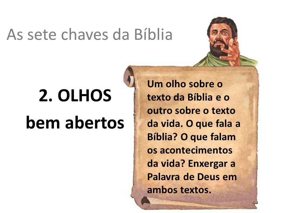 As sete chaves da Bíblia 2. OLHOS bem abertos Um olho sobre o texto da Bíblia e o outro sobre o texto da vida. O que fala a Bíblia? O que falam os aco