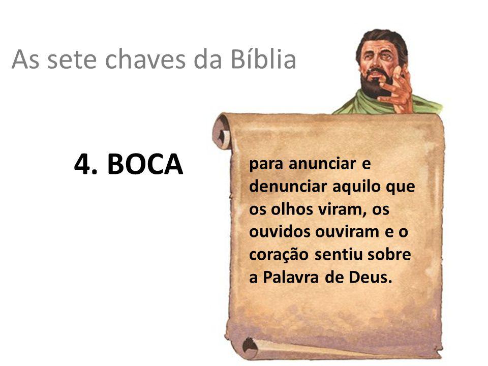 As sete chaves da Bíblia 4. BOCA para anunciar e denunciar aquilo que os olhos viram, os ouvidos ouviram e o coração sentiu sobre a Palavra de Deus.