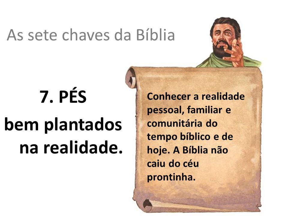 As sete chaves da Bíblia 7. PÉS bem plantados na realidade. Conhecer a realidade pessoal, familiar e comunitária do tempo bíblico e de hoje. A Bíblia