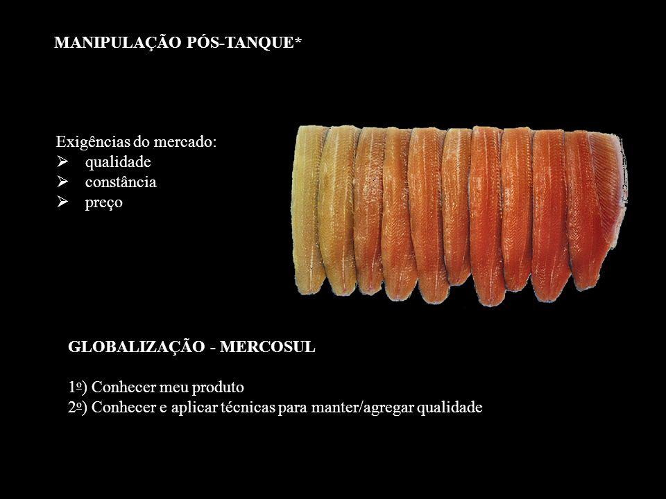 São três os componentes principais do pescado: água proteínas lipídeos MANIPULAÇÃO PÓS-TANQUE*