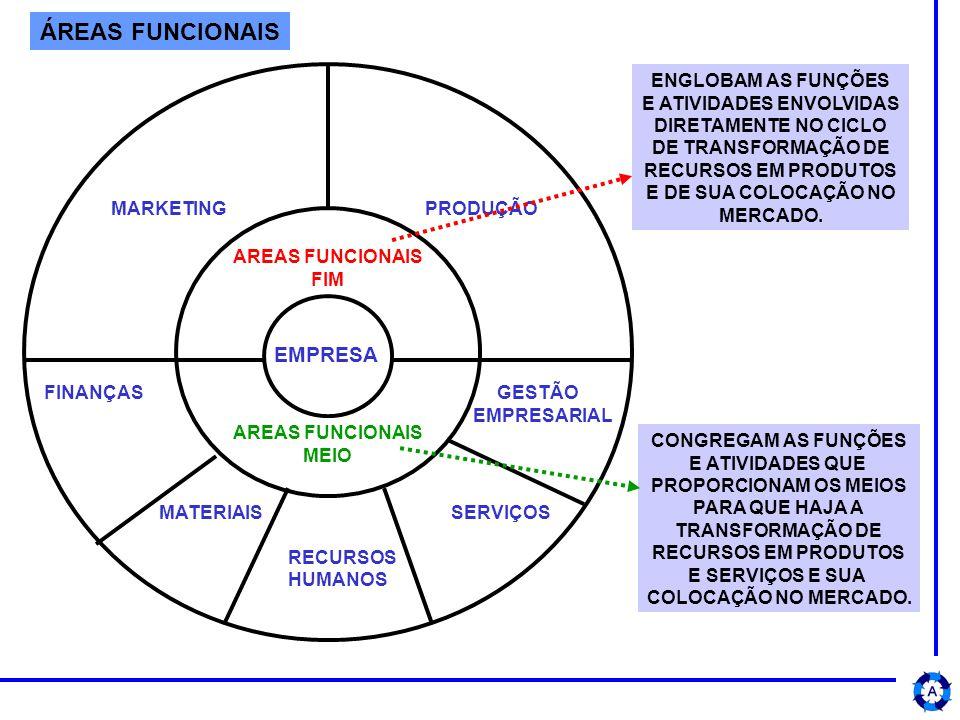 ÁREAS FUNCIONAIS AREAS FUNCIONAIS FIM AREAS FUNCIONAIS MEIO MARKETING PRODUÇÃO EMPRESA FINANÇAS GESTÃO EMPRESARIAL MATERIAIS SERVIÇOS RECURSOS HUMANOS ENGLOBAM AS FUNÇÕES E ATIVIDADES ENVOLVIDAS DIRETAMENTE NO CICLO DE TRANSFORMAÇÃO DE RECURSOS EM PRODUTOS E DE SUA COLOCAÇÃO NO MERCADO.