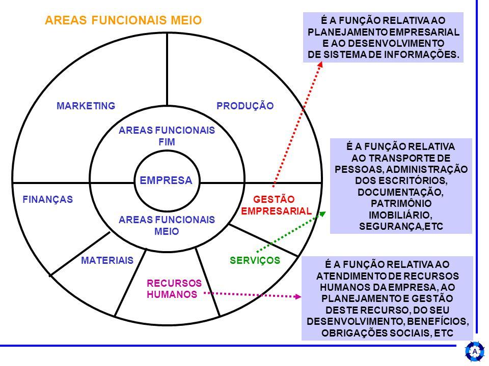 AREAS FUNCIONAIS FIM AREAS FUNCIONAIS MEIO MARKETING PRODUÇÃO EMPRESA FINANÇAS GESTÃO EMPRESARIAL MATERIAIS SERVIÇOS RECURSOS HUMANOS É A FUNÇÃO RELATIVA AO PLANEJAMENTO EMPRESARIAL E AO DESENVOLVIMENTO DE SISTEMA DE INFORMAÇÕES.