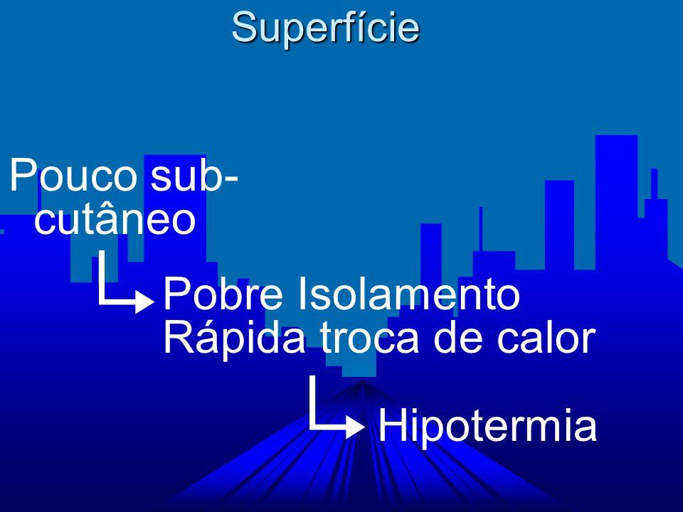 Superfície Pouco sub-. cutâneo Pobre Isolamento Rápida troca de calor Hipotermia