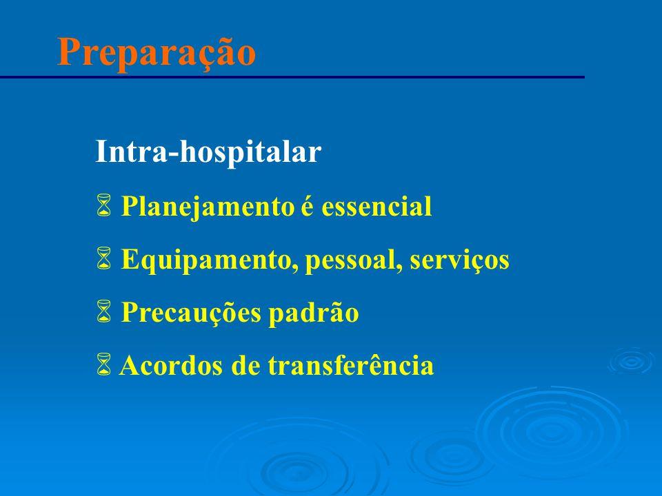 Preparação Intra-hospitalar 6 Planejamento é essencial 6 Equipamento, pessoal, serviços 6 Precauções padrão 6 Acordos de transferência