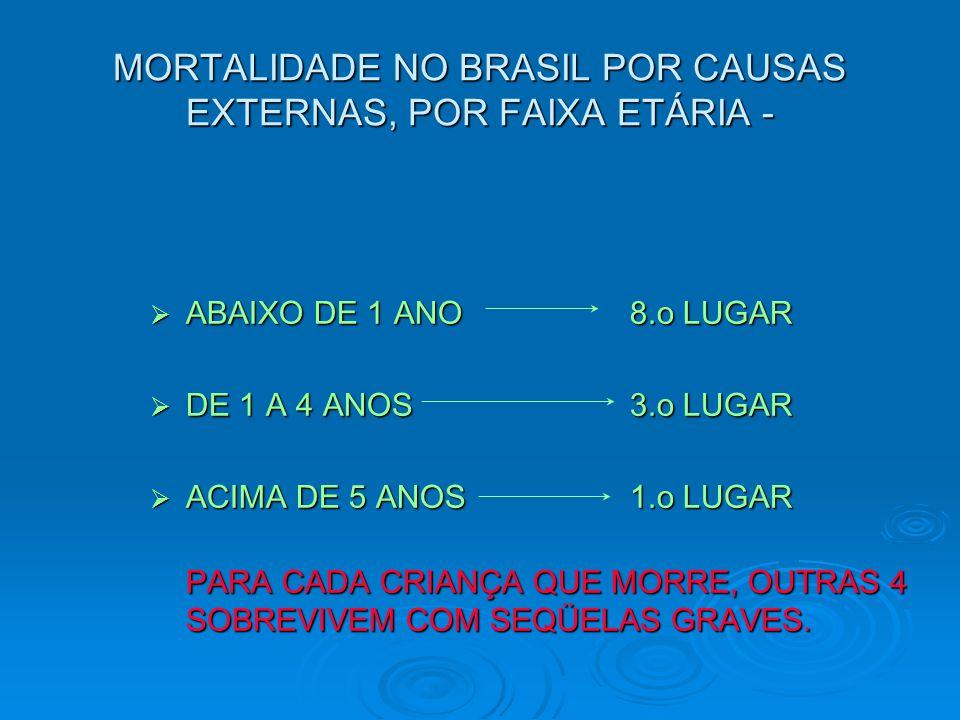 MORTALIDADE NO BRASIL POR CAUSAS EXTERNAS, POR FAIXA ETÁRIA -  ABAIXO DE 1 ANO 8.o LUGAR  DE 1 A 4 ANOS 3.o LUGAR  ACIMA DE 5 ANOS1.o LUGAR PARA CA