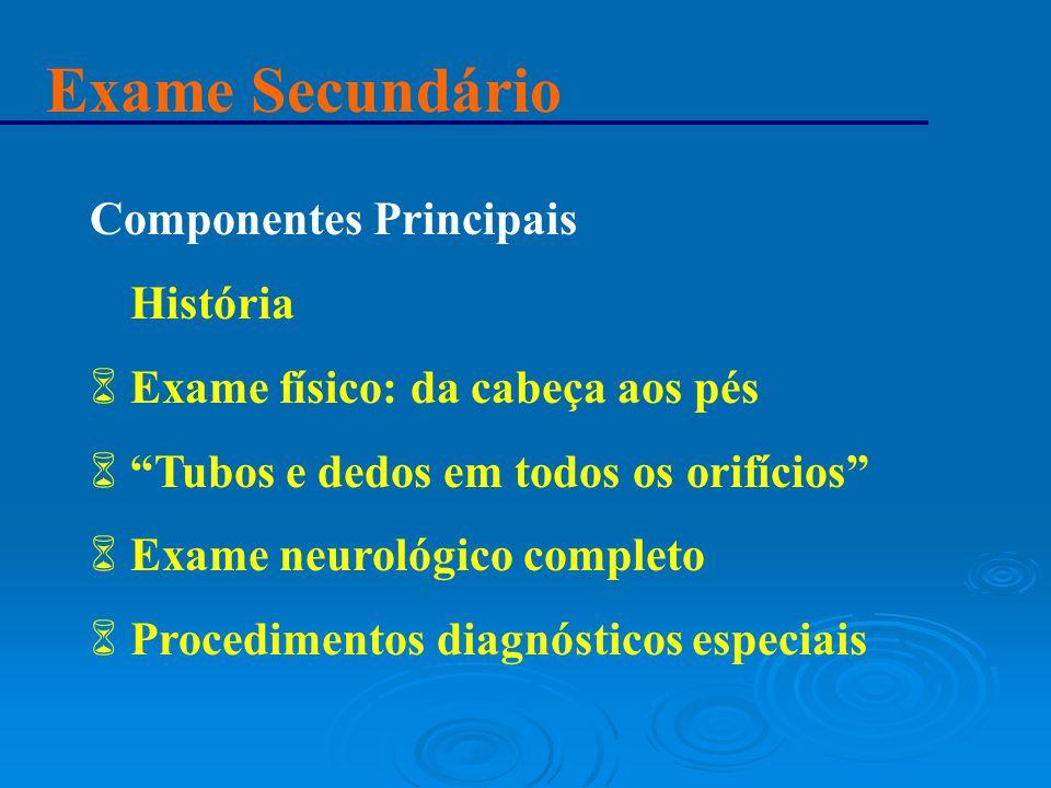 """Exame Secundário Componentes Principais 6 História 6 Exame físico: da cabeça aos pés 6 """"Tubos e dedos em todos os orifícios"""" 6 Exame neurológico compl"""