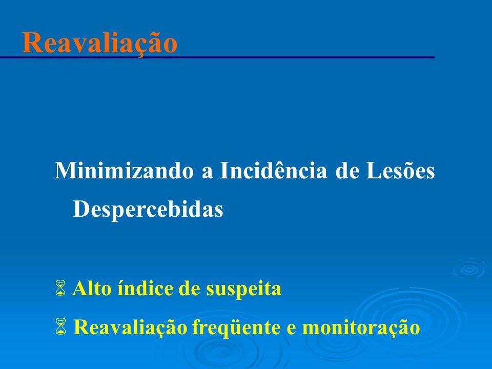 Reavaliação Minimizando a Incidência de Lesões Despercebidas 6 Alto índice de suspeita 6 Reavaliação freqüente e monitoração