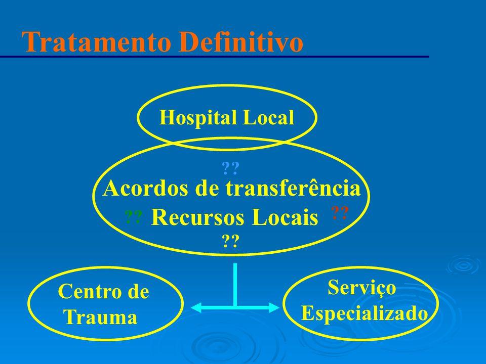 Tratamento Definitivo Hospital Local Acordos de transferência Recursos Locais ?? Centro de Trauma Serviço Especializado