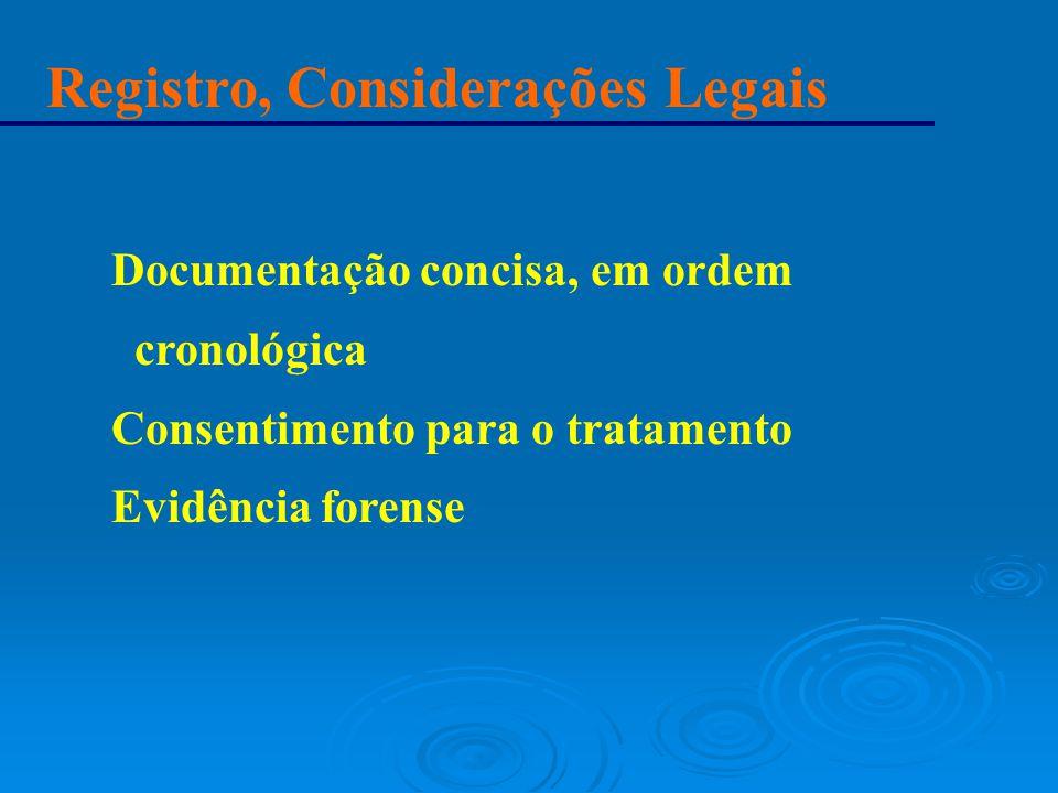 Registro, Considerações Legais Documentação concisa, em ordem cronológica Consentimento para o tratamento Evidência forense
