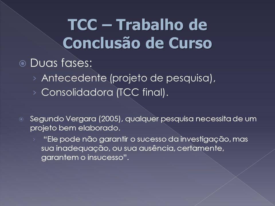  Duas fases: › Antecedente (projeto de pesquisa), › Consolidadora (TCC final).  Segundo Vergara (2005), qualquer pesquisa necessita de um projeto be