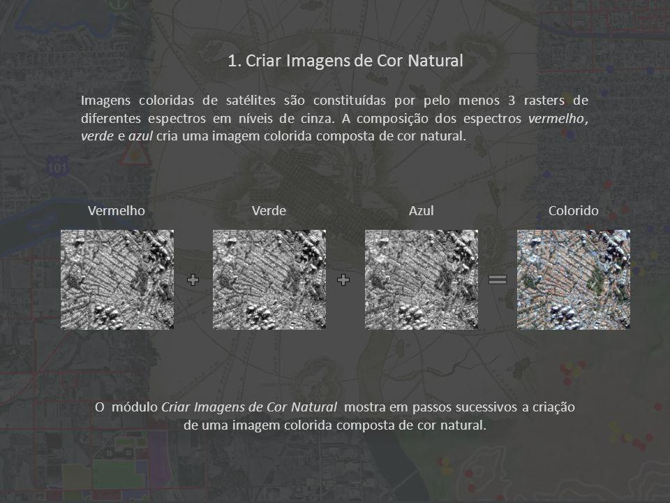 O módulo Criar Imagens de Cor Natural mostra em passos sucessivos a criação de uma imagem colorida composta de cor natural.