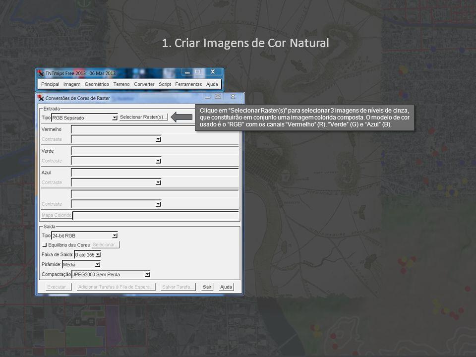 """1. Criar Imagens de Cor Natural Clique em """"Selecionar Raster(s)"""" para selecionar 3 imagens de níveis de cinza, que constituirão em conjunto uma imagem"""