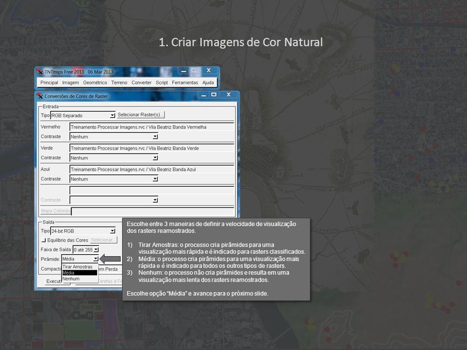 1. Criar Imagens de Cor Natural Escolhe entre 3 maneiras de definir a velocidade de visualização dos rasters reamostrados. 1)Tirar Amostras: o process