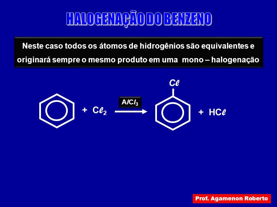 + C l 2 AlCl3AlCl3 AlCl3AlCl3 Neste caso todos os átomos de hidrogênios são equivalentes e originará sempre o mesmo produto em uma mono – halogenação