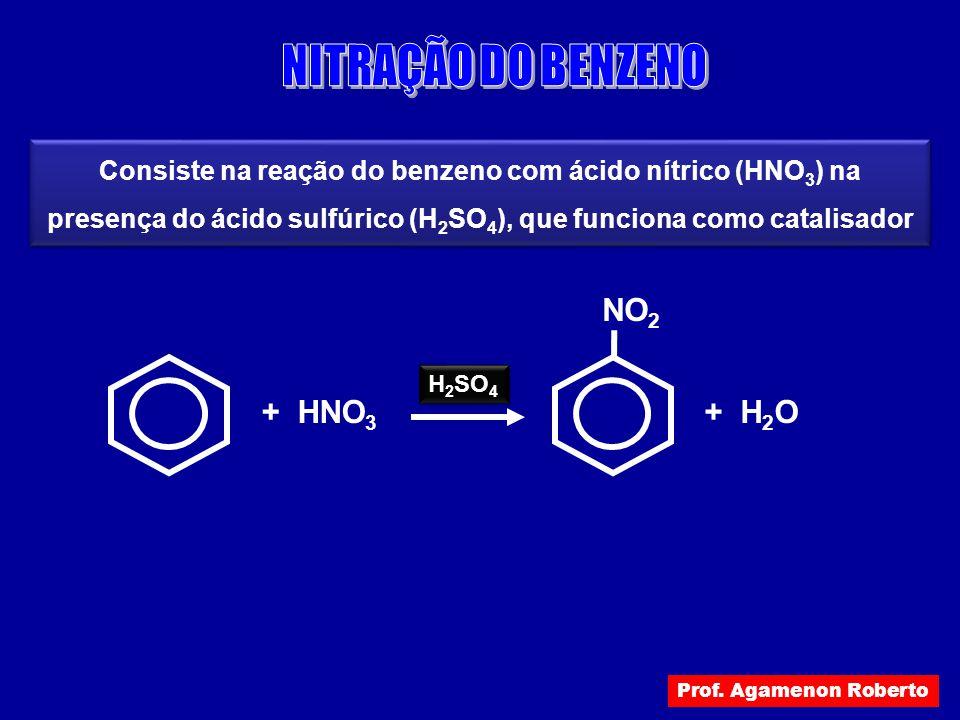 + HNO 3 H 2 SO 4 + H 2 O NO 2 Consiste na reação do benzeno com ácido nítrico (HNO 3 ) na presença do ácido sulfúrico (H 2 SO 4 ), que funciona como c